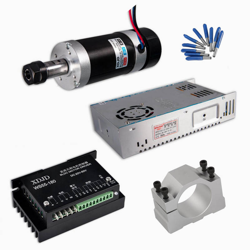 DIY CNC 400W Air Cooled Spindle Motor Switching Power Supply Motor Driver 55MM Clamp ER11 CNC tools dc48v 400w 12000rpm brushless spindle motor air cooled 529mn dia 55mm er11 3 175mm for cnc carving milling