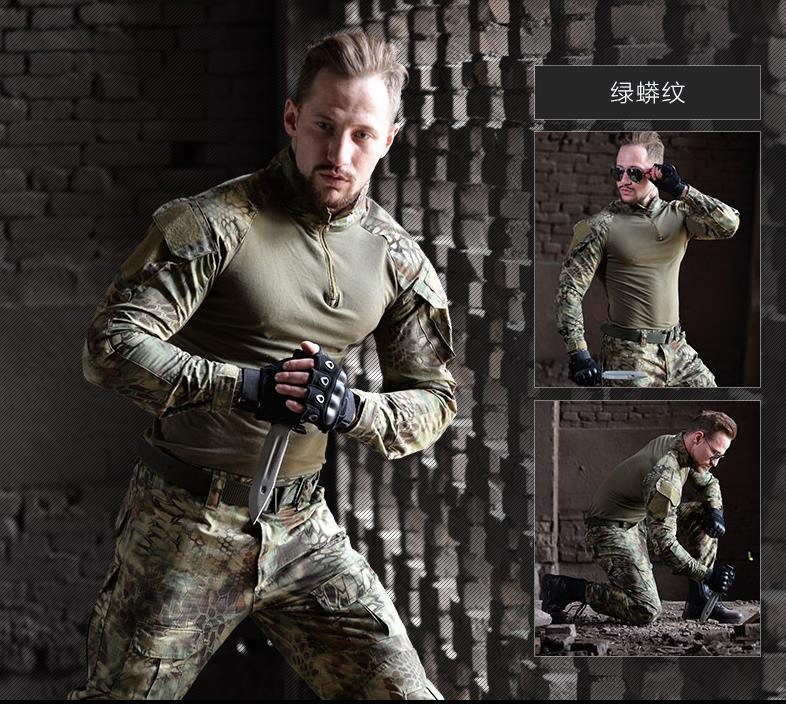 все цены на Military Tactical uniform clothing army combat Multicam uniform tactical Shirts pants with knee pads camouflage hunting clothes