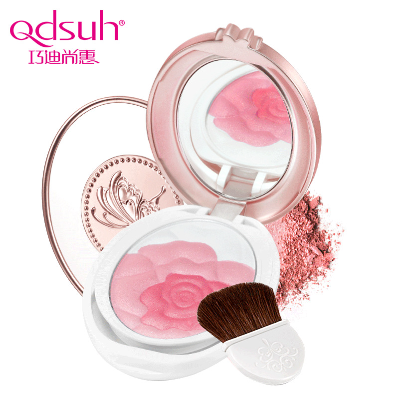 Qdsuh Butterfly Love Rose Blush Powder Natural Soft Makeup Palette Baked Cheek Blusher 2 Colors Highlighter