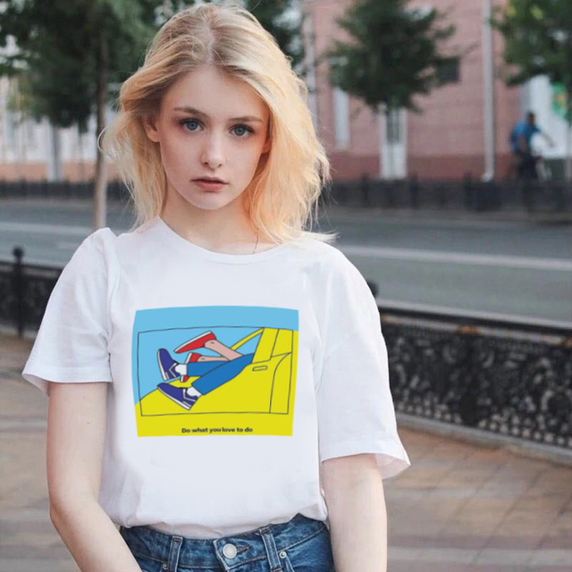 2019 Summer Women Harajuku Clothes T Shirt Do What You Love To Do Letter Printed Tshirt Leisure Fashion Vintage T-shirt Tops