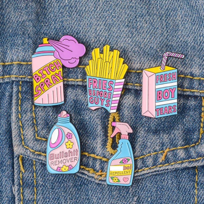 Feminis Pin Koleksi ~ Feminisme Perhiasan Lucu Cute Pink Blue Anti Remover Spray Enamel Pin Lencana Brooche