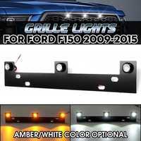 12V 3pcs Grille Lights Kit with Mounting Bracket Amber / White LED For Ford F150 2009 2010 2011 2012 2013 2014 2015