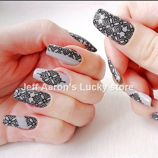 Aliexpress buy 3d pierced nail art stickers decals for nail 3d pierced nail art stickers decals for nail tips decorations beauty design tools black and white prinsesfo Choice Image