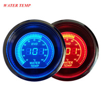 EE support Universal 2 52mm Digital Clocks Blue Red LED Light Water Temp Gauge Meter Celsius Car Accessories XY01