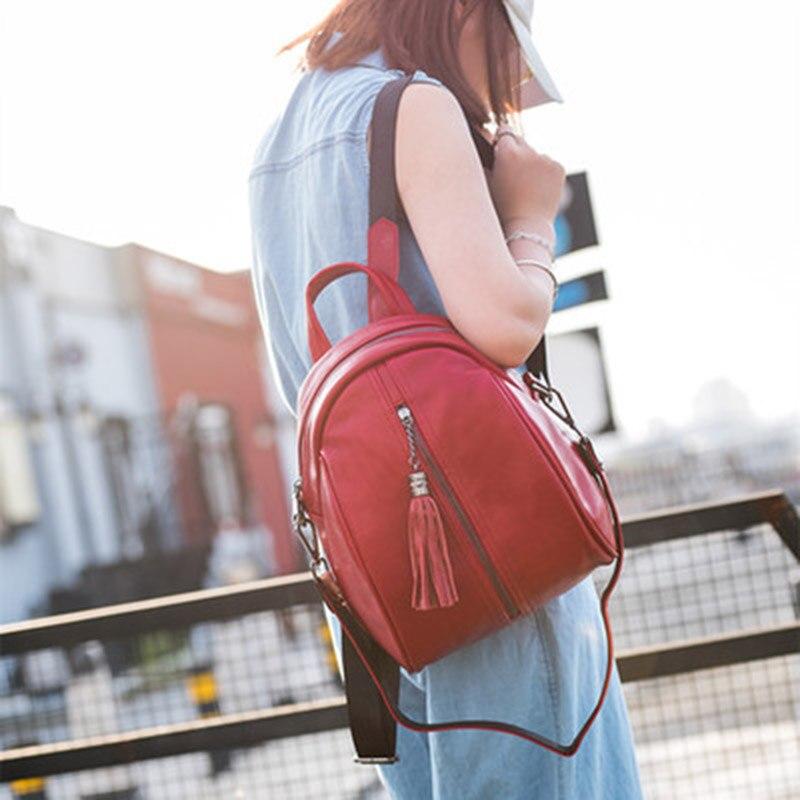 Women Multifunction Backpack Genuine Leather Tassel Shoulder Bag Large Capacity Backbag Female Zipper School Bag Girl Travel Bag