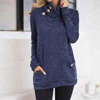 2018 zanzea mujeres manga larga bolsillos camisa blusa informal apilados turtleneck pullover sólido paquete de cadera blusas Top Plus size 5XL