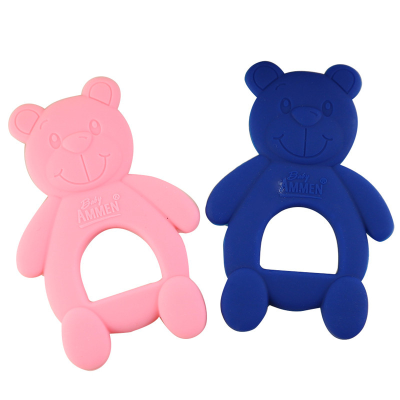 3pcs Baby Teethers Little Bear Shape Teether Baby Dental Care Strengthening Tooth Training Food Grade Kids Silicone Toys