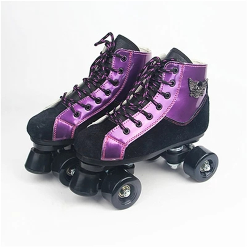 Children Adult Double Row Roller Skates Two Line Purple Blue Roller Shoes Parenting Patines PU/Flashing Wheels Sneakers IB10 black roller skates double line skates men women lady model adult pink f1 racing 4 wheels two line roller skating shoes patines