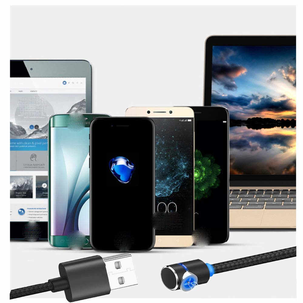 USB magnetica di Ricarica Cavo di 90 Gradi Gioco del Gioco HA CONDOTTO LA Luce IOS & Micro USB e di Tipo C USB-C Magnete Cavo caricatore per il iphone Samsung