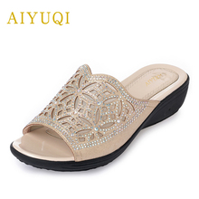 AIYUQI womens shoes for the summer 2019 new fashion platform golden flip flop Comfort diamond elegant slippers