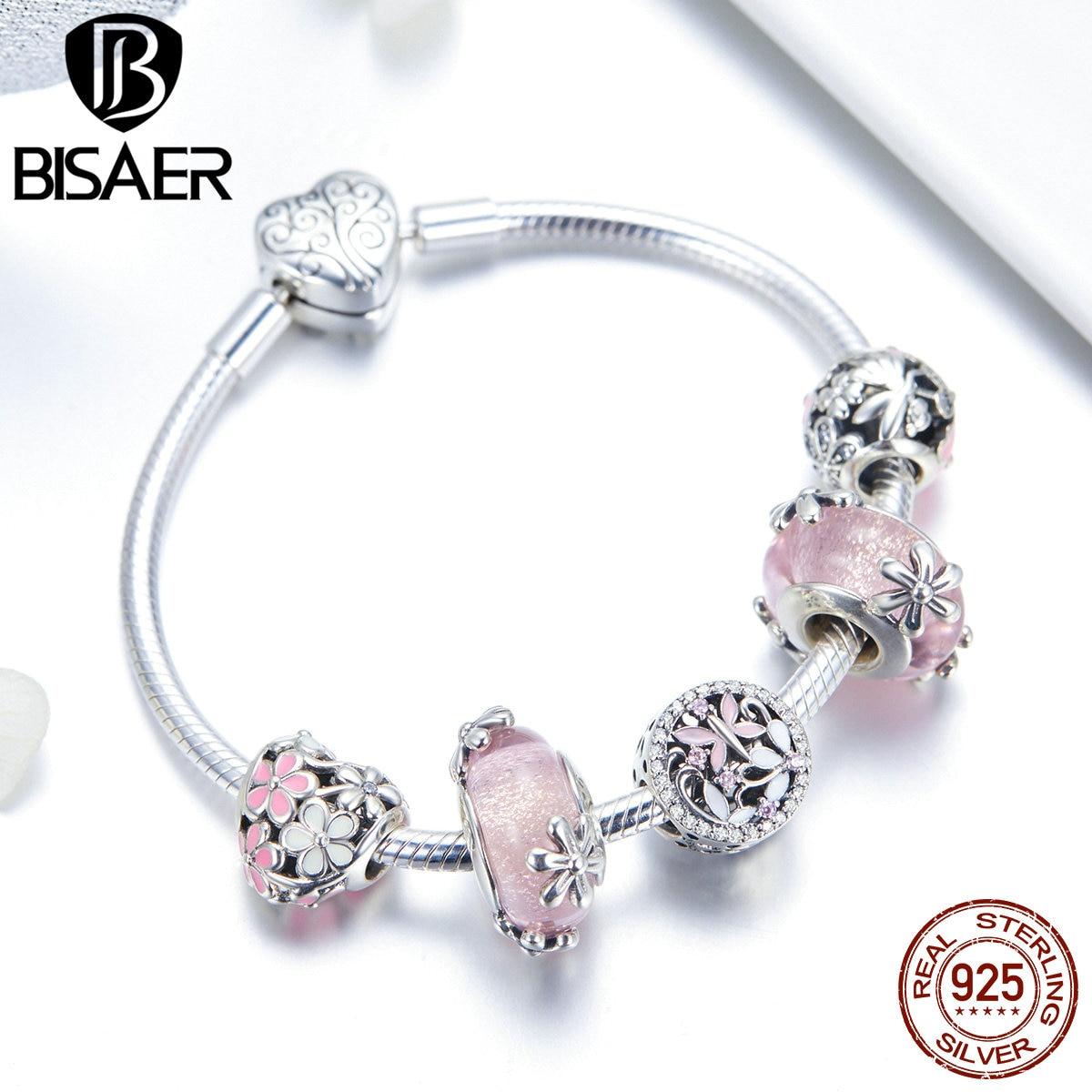 BISAER браслеты в форме сердца, 925 пробы, серебряный, розовый, Маргаритка, персик, цветок, сердце, женские браслеты для женщин, серебро 925, ювелирн... - 6
