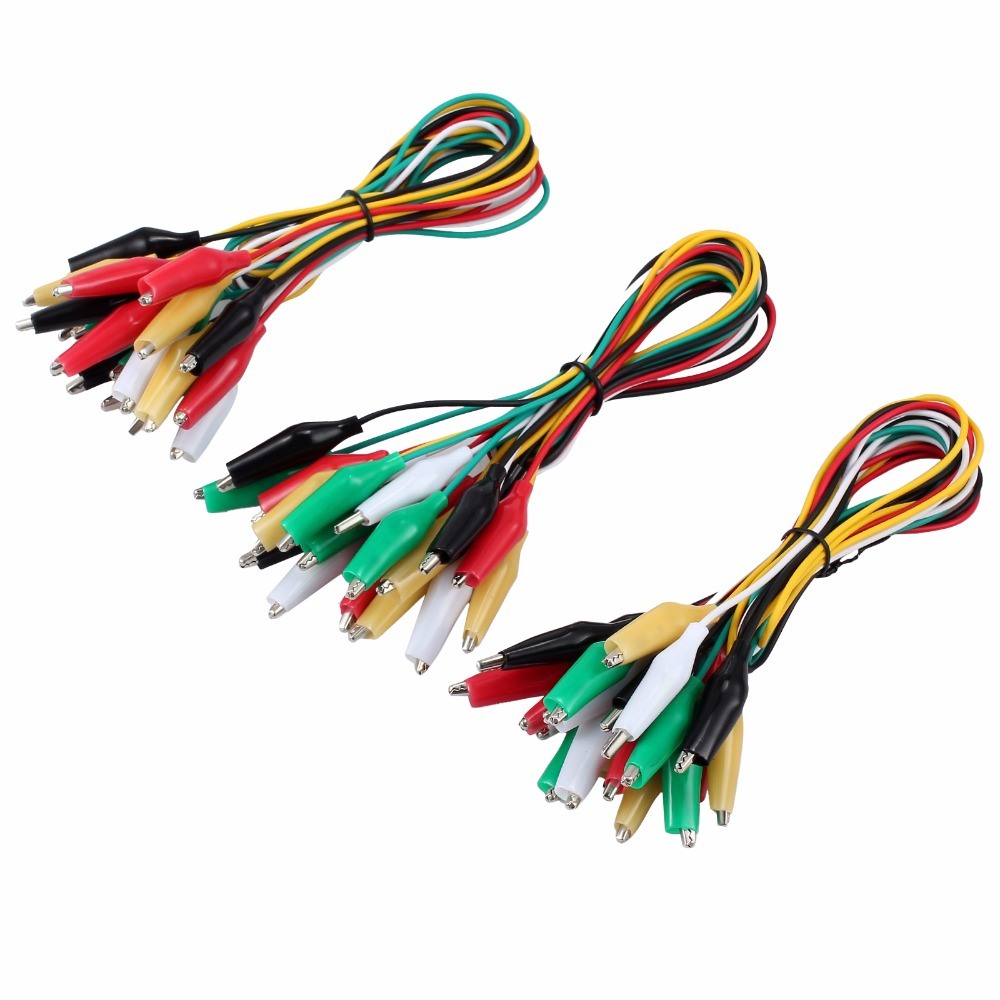 30Pcs 50CM Alligator Clip Test Lead 5 Different Colors 24 AWG Wire ...