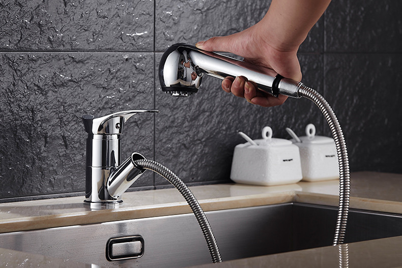 Free Ship Chrome Kitchen faucet brass faucet hot and cold sink tap Water Tap with pull out shower head Kitchen Mixer kitchen mixer tap kitchen pull out faucet brass nickle cold and hot two spouts kitchen faucet double tap shower torneira cozinha