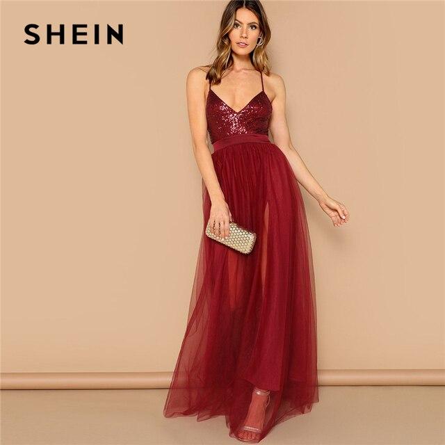 Vestido largo SHEIN sexi de color burdeos entrecruzado con espalda descubierta y lentejuelas con tiras, vestido de fiesta de verano de color liso con ajuste y llamarada de malla
