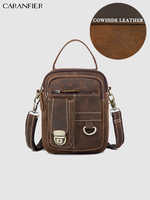 CARANFIER Mans Chest Bags Genuine First Layer Cowhide Leather School Weekend Bags Vintage High Quality Multi Function Travel Bag