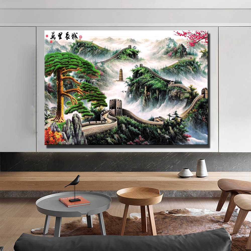 Chinese Greet Wall Canvas Paintings Chinese Style Landscape Worlds Famous Building Posters And Prints Cuadros Decor Picture