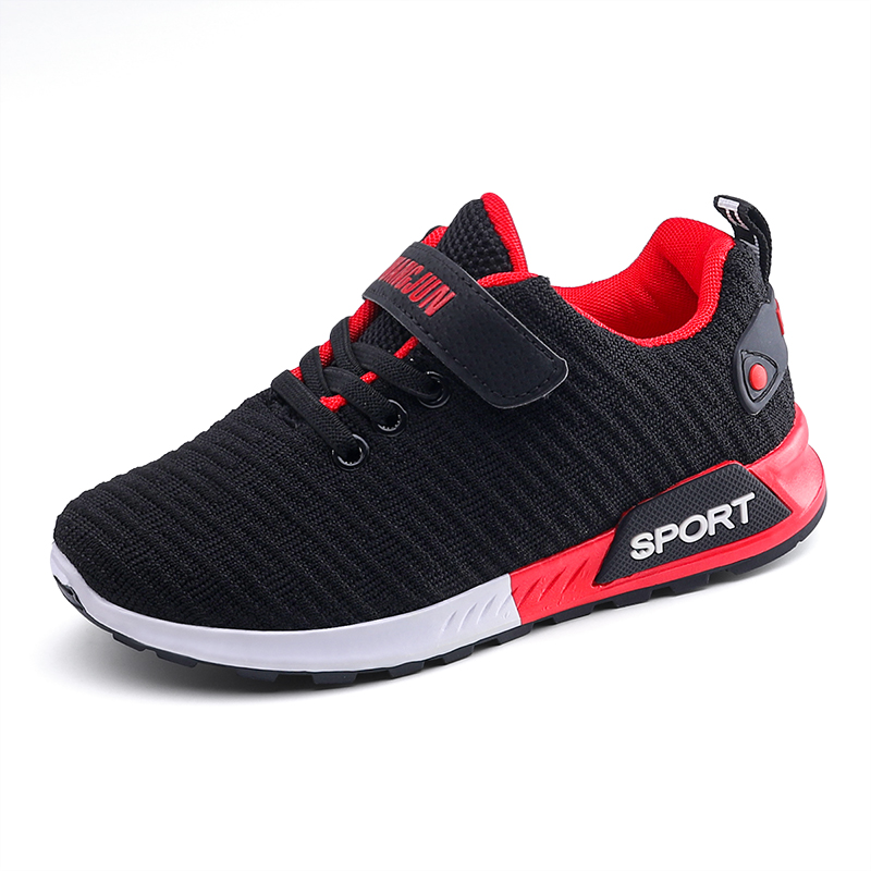 Children Sports Shoes Autumn Boys Girls Anti-slip Patchwork Net Breathable Kids Sneakers Infant Child Running Shoe Black Red