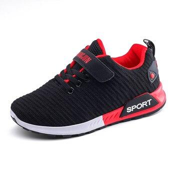 Children Sports Shoes Autumn Boys Girls Anti-slip Patchwork Net Breathable Kids Sneakers Infant Child Running Shoe Black Red