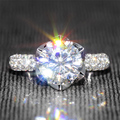 2 Carat ct Moissanite Laboratorio Crecido anillo de Compromiso de La Boda de Color F Anillo de diamantes Con Acentos de Diamante Sólido 14 K 585 Blanco Real oro