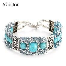 Винтажные бирюзовые браслеты для женщин круглые бусины античное
