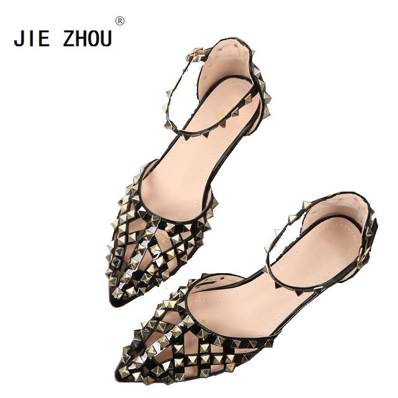 High Quality Luxury Brand Shoes New 2018 Summer Elegant Women Rivet Shoes Fashion Women Pointed toe Flats-in Women's Flats from Shoes    1