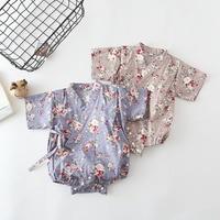 Для новорожденных Детские праздничные костюмы для девочек Комбинезон традиционные японские кимоно пижамы Летний цветочный комбинезон Дет...