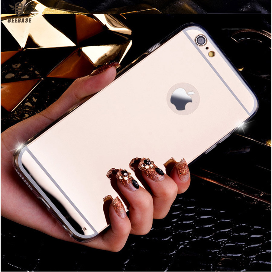BEEBASE Full edge Protection Phone case For iphone 5 5S SE Back Cover For iphoe 6 6s 7 8 Plus Plating Mirror Case For iphone X ...