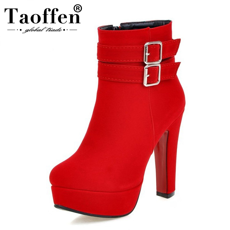 TAOFFEN Size 30-48 Women High Heel Boots Zipper Winter Warm Round Toe Shoes Woman'S Square Heel Platform Footwear Zapatos Mujer