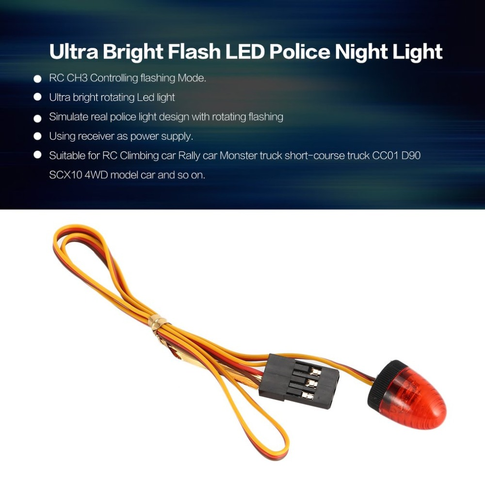 Yellow RC Car Police Flash Light,WONFAST 360/° Rotation 5 Modes Ultra Bright LED Strobe Lights for 1//8 1//10 RC Mode Truck Car Accessory