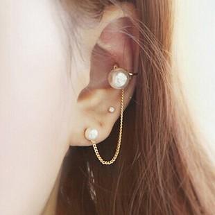 Elegant Imitation Pearl Gold Silver Color Clip Gothic Tel Ear Cuff Chain Earring Stud Steampunk Vintage