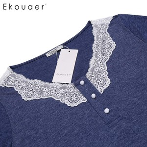 Image 5 - Ekouaer 여성 나이트 가운 캐주얼 v 넥 긴 소매 레이스 패치 워크 버튼 a 라인 느슨한 임신 잠옷 Homewear Nighty Clothes