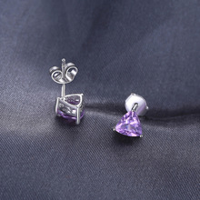 JewelryPalace Trillion 1.9ct Natural Purple Amethyst Birthstone Stud Earrings Solid 925 Sterling Silver Fine Jewelry For Women