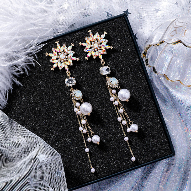 New Luxury Colorful Rhinestone Snowflake Flower Long Pearl Tassel Drop Earrings Exaggerated Baroque Style Women Jewelry EC1422