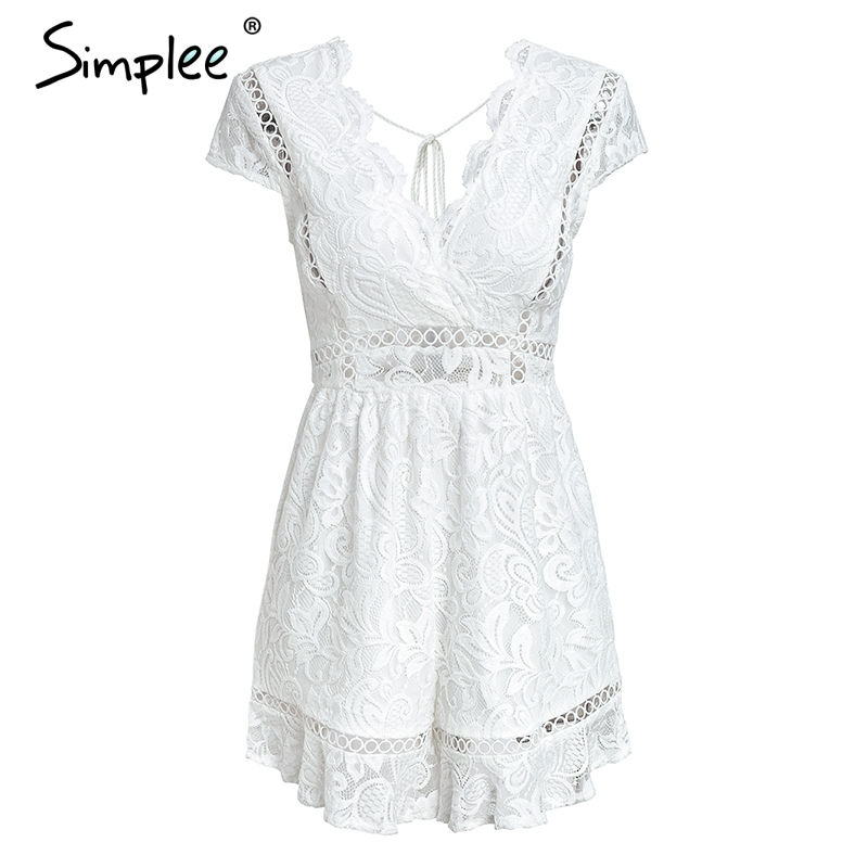 9ea6ea3306b Simplee Elegant v neck lace rompers womens jumpsuit Ruffle hollow out sexy  playsuit 2018 Summer boho