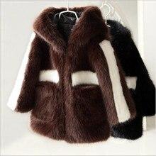 Детское пальто из искусственного меха норки Теплая стеганая хлопковая одежда для маленьких мальчиков и девочек г. зимняя утепленная куртка с капюшоном на молнии QC874