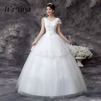 Free Shipping Tulle V Neck Lace Floor Length Wedding Dresses Cheap White Bridal Frocks Custom Made
