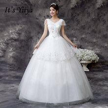 It's Yiiya Tulle V-Neck Lace Floor Length Wedding Dresses Cheap White Bridal Frocks Custom Made Vestidos De Novia MD61