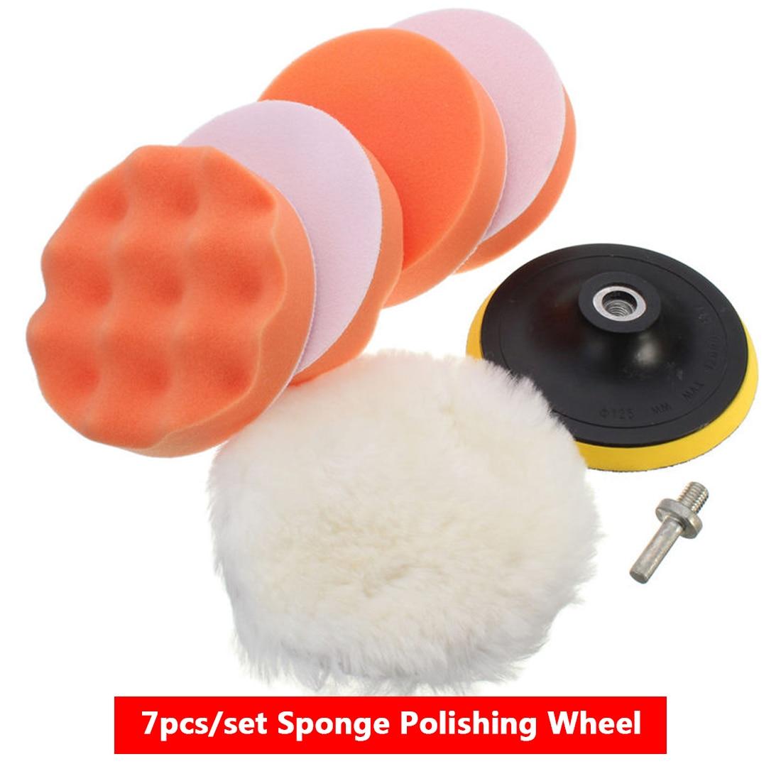 3inch Buffing Pad Auto Car Polishing Pad Kit Buffer + Drill Adapter M10 For Glass/Car Polisher Electric Drill 7pcs/set
