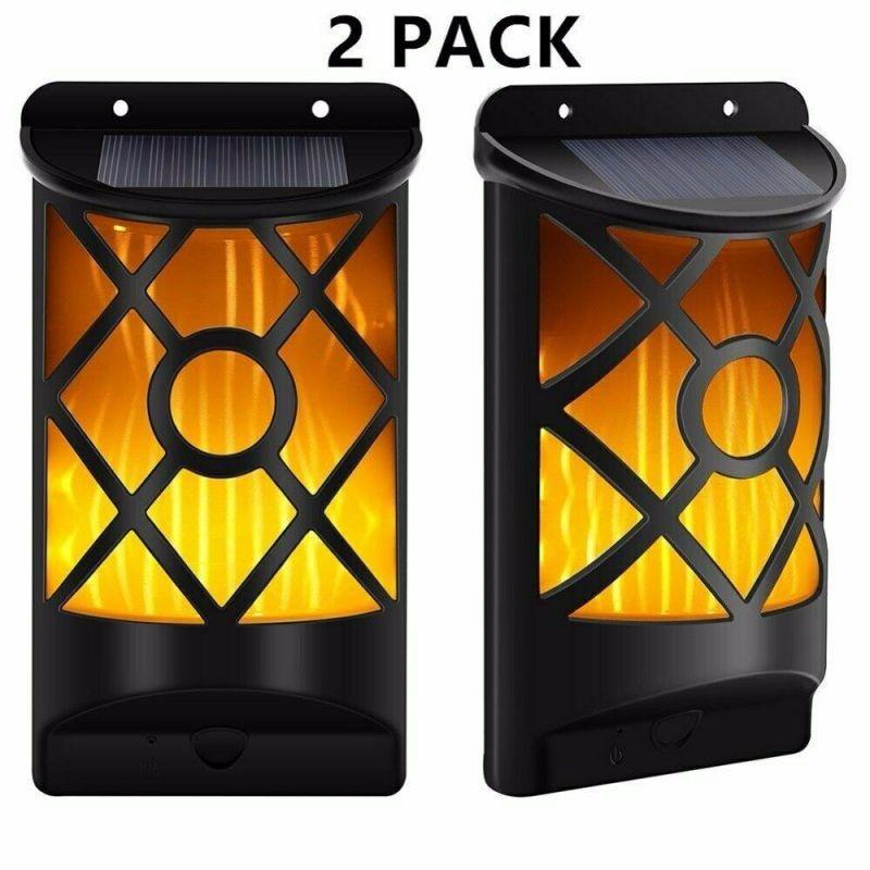 Outdoor Decor Lamp Solar Lamp Solar Wall Lights IP65 Waterproof Warm White Night Light 66 LEDs Flickering Flames Torch Lights