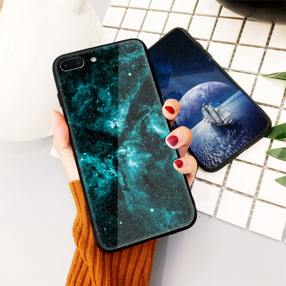 TOMKAS Star Sky Pattern Glass Case For iPhone X 7 8 6 6 s Cover Phone Cases For iPhone 7 8 6 6s Plus X Case Silione TPU PC Coque (17)