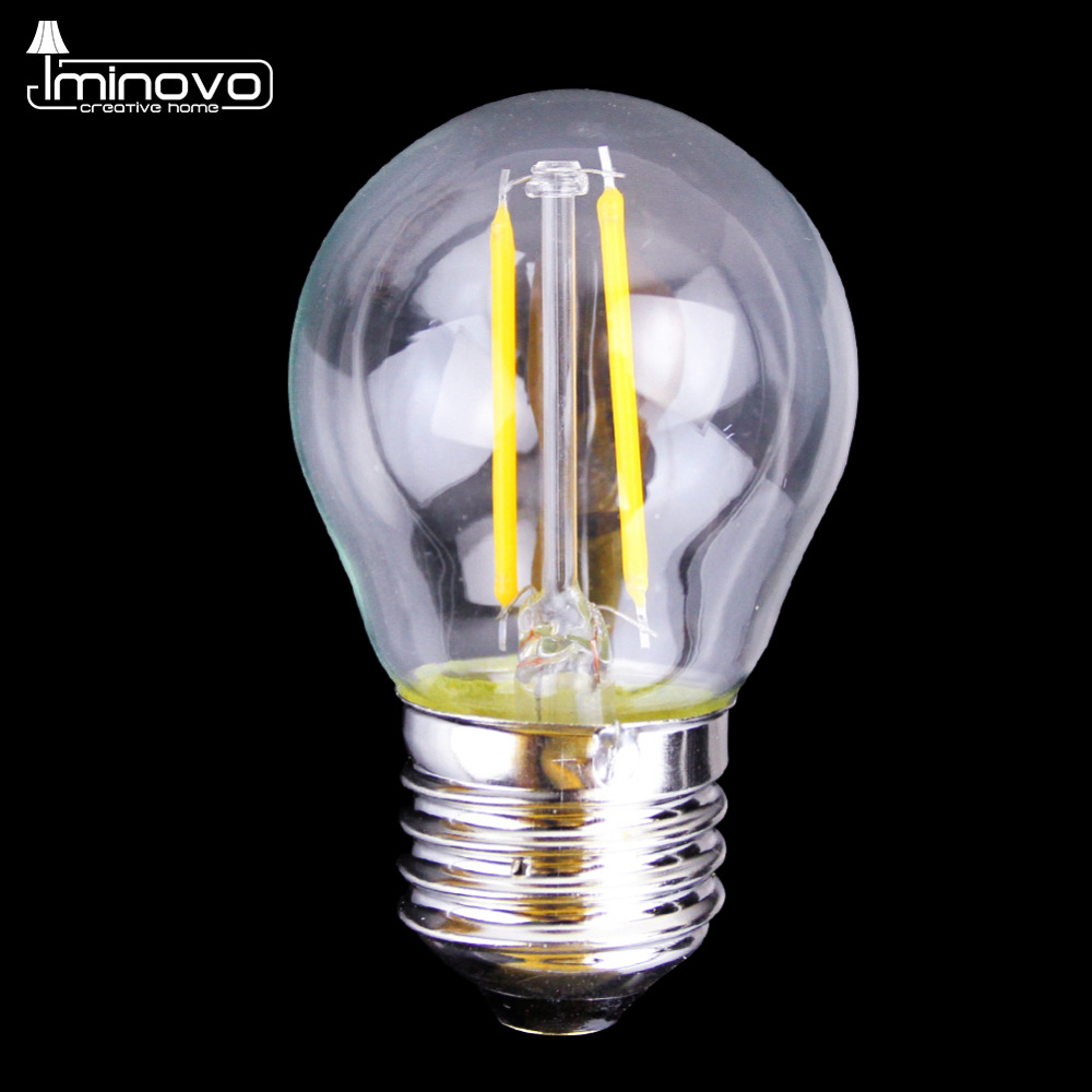 IMINOVO 20 Pcs LED Edison Bulb G45 E27 Dimmable Filament Retro Globe Lamp 110V 220V 2W Vintage Light Indoor Lighting Living Room retro lamp st64 vintage led edison e27 led bulb lamp 110 v 220 v 4 w filament glass lamp