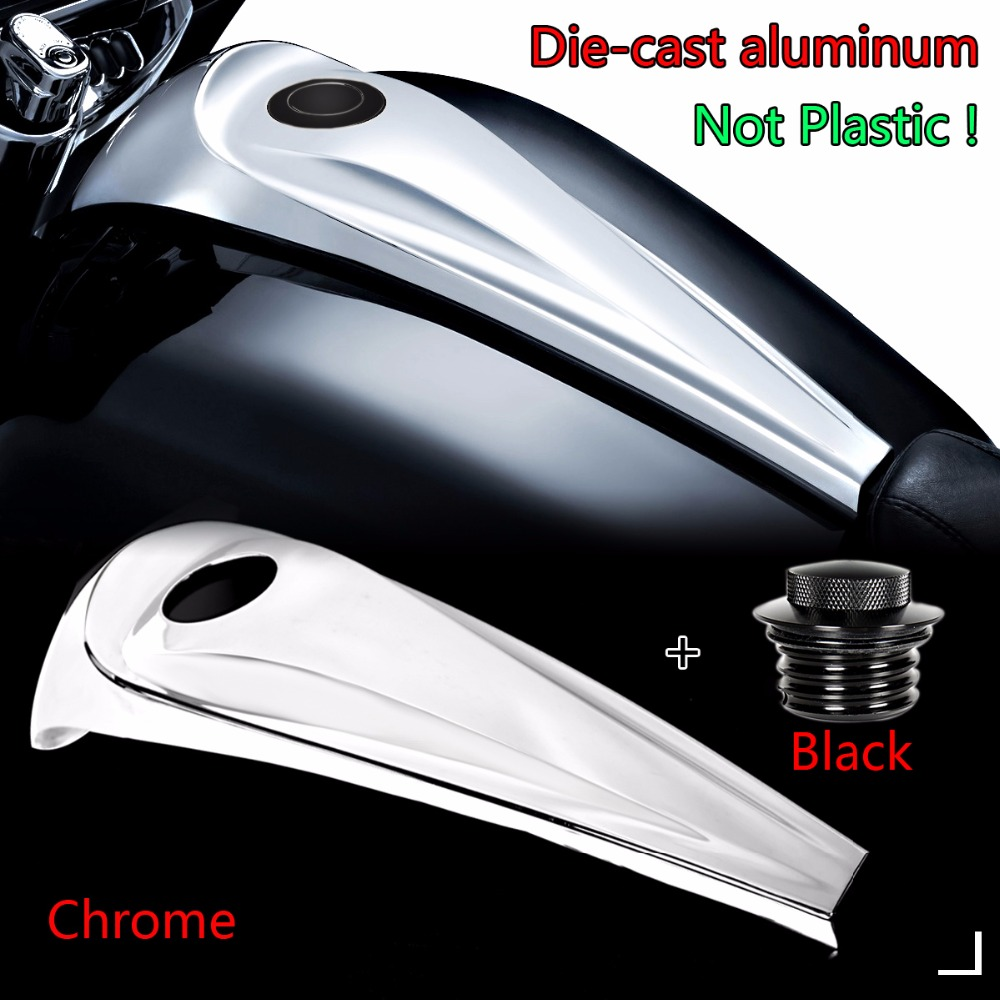 Aluminum Chrome Smooth Dash Fuel Console Cover&Black Gas Tank Cap For Harley 2008-2017 Touring Electra Street Glide Road Models