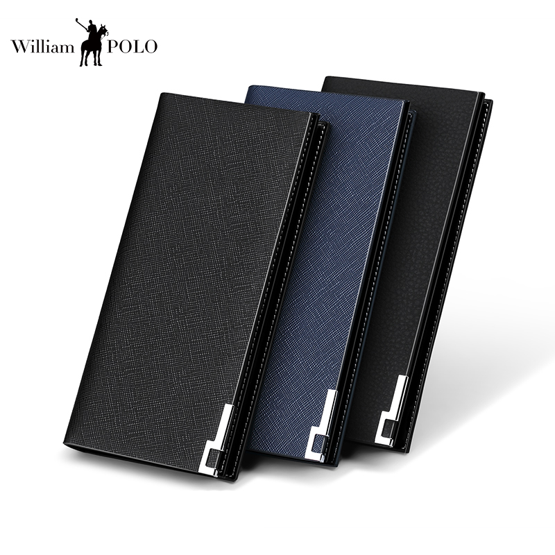 WILLIAMPOLO 2018 Men Wallet Genuine Leather Long Clutch Wallets For Men Cowhide Bifold Purse Slim Fashion Male Wallets PL171337 3 7v lithium polymer battery 4070100 3000mah battery pocket pc source newman f70