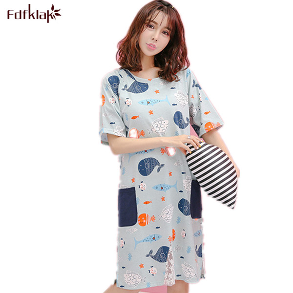 Women Summer Dress Sleeping Clothes Large Size Short Sleeve Nightgowns  Female Casual Nightdress For Girls Nightshirts M-XXL ea1ecaabc