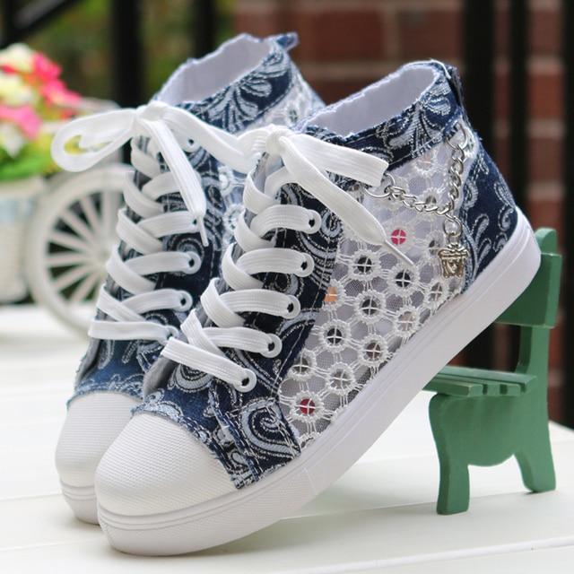 565ecdd3a78a Girls  Spring Autumn Air Mesh Fashion Round Toe Lace-up Casual Shoe Denim Canvas  High Cut Jean Shoe Trifle Heel Breathable Shoe