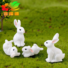 Lovely Mini Family White Rabbit figurine Resin Craft micro landscape home decor Home Furnishing Micro Landscape Accessory