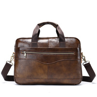 14 inch Men's Genuine Leather Briefcase Men Shoulder Bag For Men Brown Cow Leather Briefcase For bussiness Laptop Handbags hot