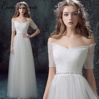 C V Half Sleeve Simple Design Tulle Beach Wedding Dress Floor Length Plus Size Off Shoulder
