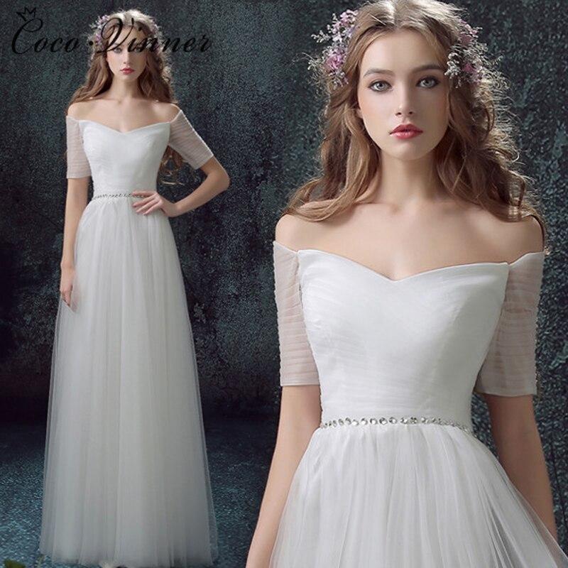 C.V Half Sleeve Simple Design Tulle Beach Wedding Dress Floor Length Plus Size Off Shoulder Vintage A line Wedding Dresses W0050