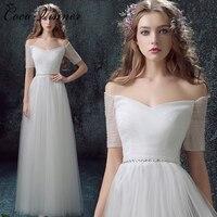 C V Half Sleeve Simple Design Tulle Beach Wedding Dress Floor Length Plus Size Off Shoulder